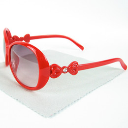 Wholesale Glass Bow Tie - Kids Sunglasses Rhinestone Plastic Frame Girl Sun Glasses With Bow Tie Mixed Colors 20pcs Wholesale Eyewear