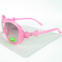 Wholesale Glass Bow Tie - Free Shipment Rhinestone Kids Sunglasses Plastic Girl Sun Glasses With Bow Tie Mixed 8 Colors 20pcs