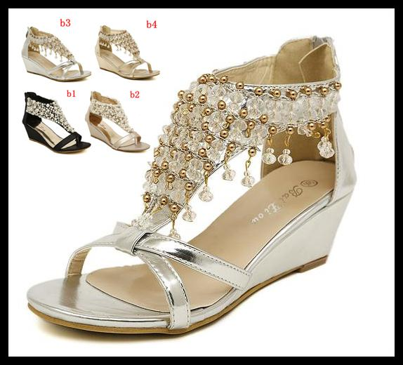 2014 New Silver Gold Wedding Bride Shoes Bohemian Shiny Beaded Sandals Shoes  Sexy Women Low Heeled Wedge Sandals EPacket Cheap Shoes For Women Buy Shoes  ... 3e0ba060fde0