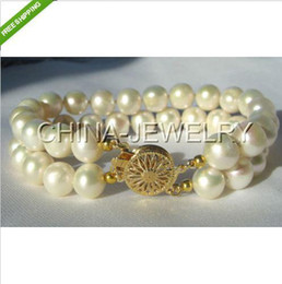 Wholesale Double Pearl Bracelets - Beautiful double strand 8-9mm white round freshwater pearl bracelet-GP clasp