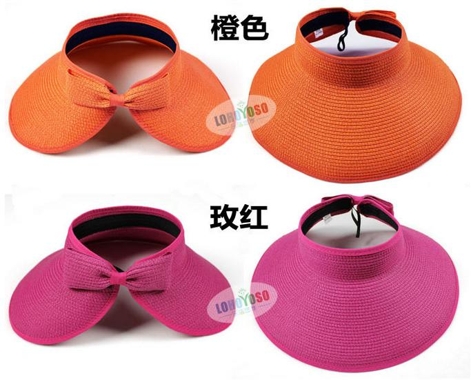 Fashion Woman Wide Brim Roll Up Sun Straw Beach Hat Visor Cap Foldable