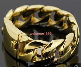 "최고의 크리스마스 선물 COOL HEAVY MEN`S STAINLESS CLEAN CURB LINK GOLD BRACELET (8.66 ""x 26mm)"