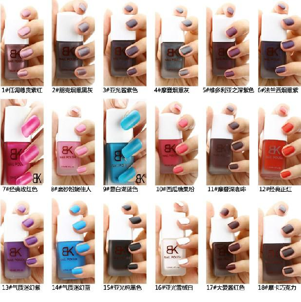 Genuine Bk Green Frosted Matte Nail Polish Wholesale Candy Colored Nude Color Full 18 Glow In The Dark