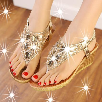 2014 New Women Flip Flops Bohemian Summer Sandals Shoes Silver Gold Shiny Luxury Gem Beading low-heeled wedge sandals ePacket free shipping