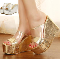 Wholesale silver platform wedge heels - New sexy shiny gold silver transparent shoes platform wedge peep toe high heel slipper women summer sandals ePacket free shipping