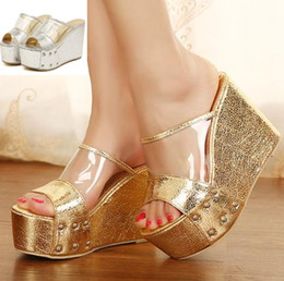Wholesale Open Toe Transparent Shoes - New sexy shiny gold silver transparent shoes platform wedge peep toe high heel slipper women summer sandals ePacket free shipping