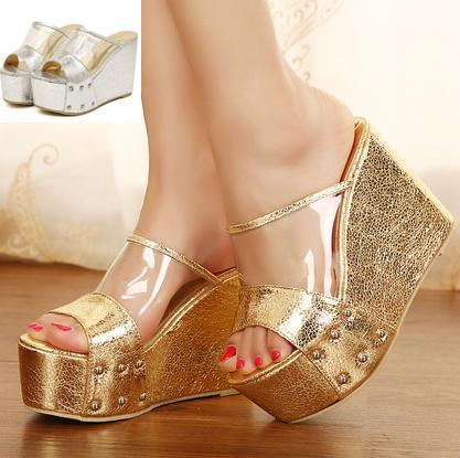 Nueva sexy brillante oro plata zapatos transparentes plataforma cuña peep toe zapatillas de tacón alto mujeres sandalias de verano ePacket envío gratis