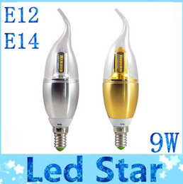 Wholesale Cree Led Light Bulbs Sale - Hot Sales 9W E12 E14 Led Bulbs Candle Lights Gold Silver Shell AC 110-240V Warm Cool White SMD 3014 Led Spotlights 360 Angle Brand New