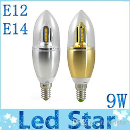 Wholesale Gold Bulbs - 2014 Newest Silver Gold 9W Led Candle Lamps E14 E12 Cool White Warm White SMD Led Bulbs Light 360 Angle AC 110-240V CE ROHS UL