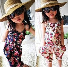 Wholesale Child Overalls - Children Clothing Flowers Girls Floral Jumpsuit SuspenderS Trousers Pant 100% Cotton Flower Print Kids Summer Outfit Overalls 594