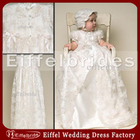Wholesale Buy Short Gowns - Vintage Christening Gowns with Lovely Jewel Neckline and Short Sleeve Taffeta Lace Christening Dresses Baptism Robe Buy One Free Get Two