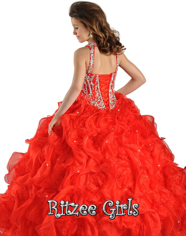 2014安い花の女の子のドレススパゲッティボールガウン赤オーガンザレースアップビーズクリスタルフリルページェントドレス