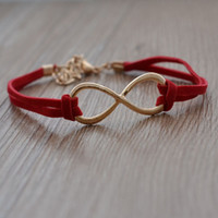 Wholesale one direction gold jewelry for sale - Group buy Cheap price gold colr one direction fashion jewelry infinity bracelet charm leather for women can mix different goods