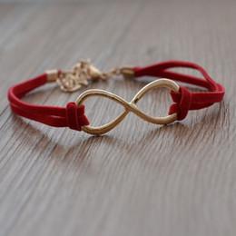 дешевые кожаные браслеты для женщин Скидка Дешевая цена золото colr одно направление ювелирные изделия бесконечность браслет Шарм кожа для женщин Оптовая продажа (можно смешивать различные товары )20 шт./лот