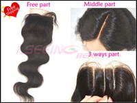 Wholesale Cheapest Bleach - Cheapest 8A 100% Brazilian unprocessed remy hair swiss lace top closures 3.5x4 bleached knots body wave Free shipping