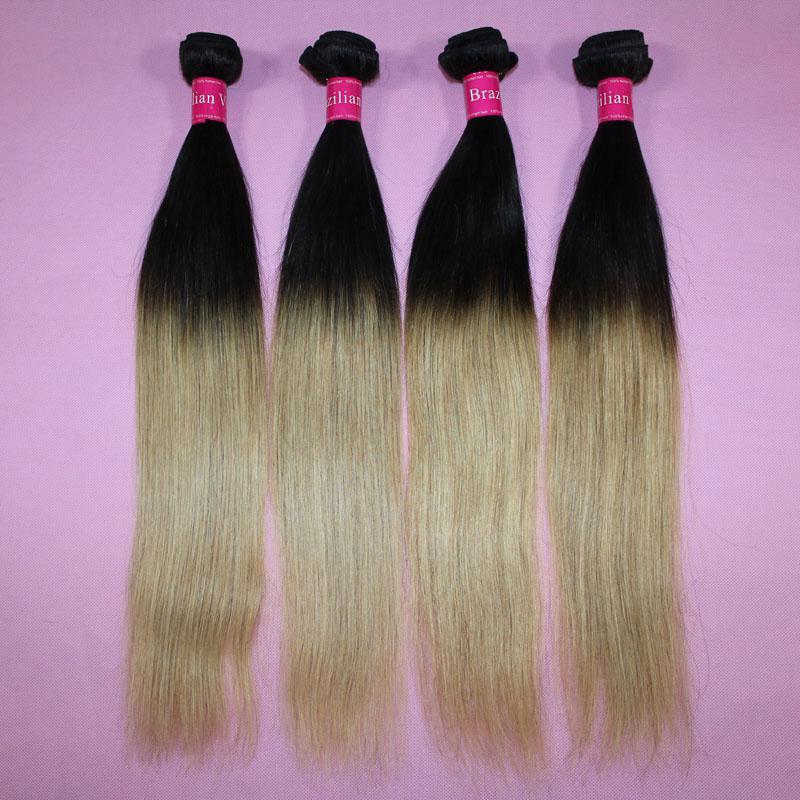 Braziliaans steil haar Weave Ombre Menselijk Haar Inslag Two Tone Color 100 Peruvian Hair Bundels 1B / 27 1B / 30 1B / 99J 1B / Rood