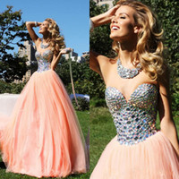 Wholesale 2014 Sexy Tarik Ediz A Line Tulle Crystal Cocktail Dresses Evening Gowns Prom Dresses With Sweetheart Neckline Floor Length