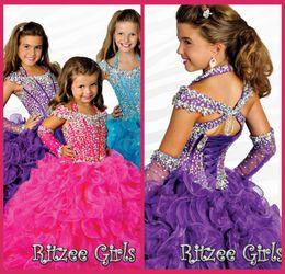 2019 plancher étincelant rose Petite fille Pageant Robes de l'épaule pourpre organza Lace Up Kids Party robe perles robe de cristal robe à volants