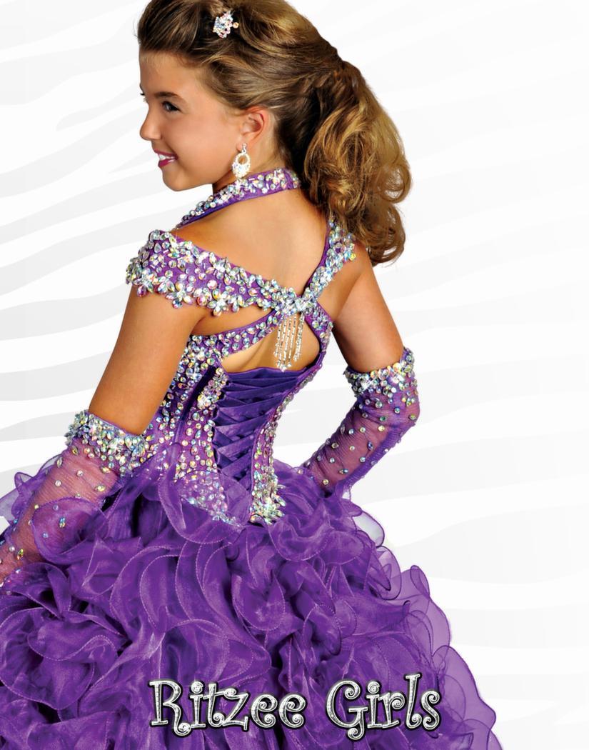 Liten flicka pageant klänningar av axeln lila organza spets upp barn festklänning beading kristall klänningar ruffle klänning