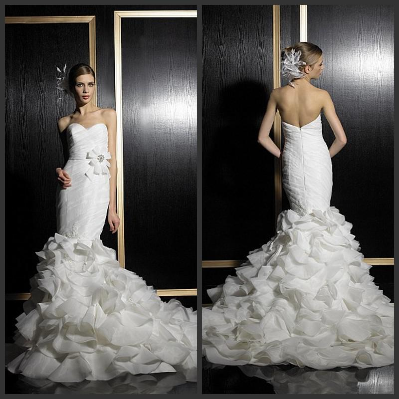 2014 Spring Mermaid White Wedding Dresses Organza Sweetheart Zipper