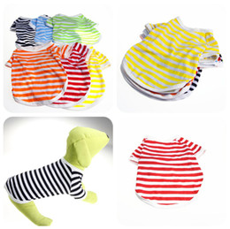 Wholesale Clothes For Chihuahuas Cheap - Pet Dog Vests Navy Stripe Cheap Cotton Puppy T-Shirt T Shirts Dog Summer Clothes For Teddy Chihuahua XS-XL DHL FEDEX FREE SHIPPING