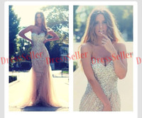 Wholesale Nude Tulle Sequin - Free Shipping Super Hot Glitter Sweet-heart Mermaid Long Nude Tulle Silver Sequins Crystals Beaded Evening Dresses 2014