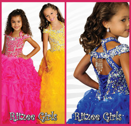 Wholesale Modelling Babies Dress - 2014 Ritzee Girls Ball Gowns Spaghetti Pageant Dresses Crystal Dresses Beading Royal Blue Organza Baby Dress