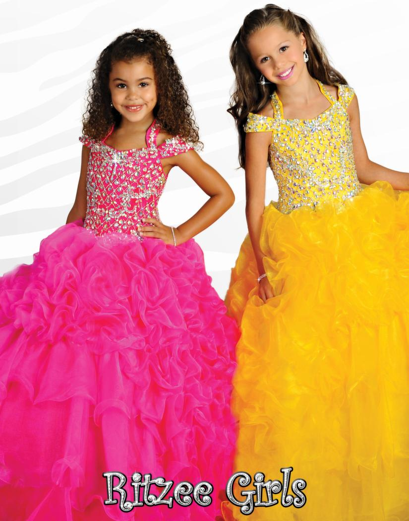 2014 Ritzee Girls Ball Gowns Spaghetti Pageant Dresses Crystal Dresses Beading Royal Blue Organza Baby Dress
