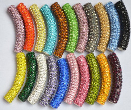 Wholesale Tube Bending Beads - Best DIY free shipping Mixed 12 Color In Random long bending tube crystal Bead Bracelet Necklace Beads.MJPW Wholesale! Stock!Mixed Lot!