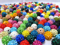 Livraison gratuite 10 mm Mixed Micro Pave CZ Disco Ball Cristal Shamballa Perle Bracelet Collier Perles DIY .hot Vente en gros! Stock! Mixed Lot!