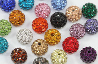 200 pièces / lot 10 mm Mixed Micro Pavé CZ Disco Ball Cristal Shamballa Perle Bracelet Collier Perles DIY .hot Vente en gros! Stock! Mixed Lot!