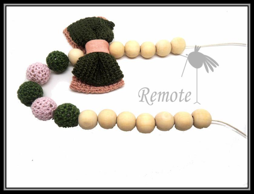 Mommy Organic Teething bead necklace Nursing necklace , Crochet Necklace bow necklace green pink NW1605