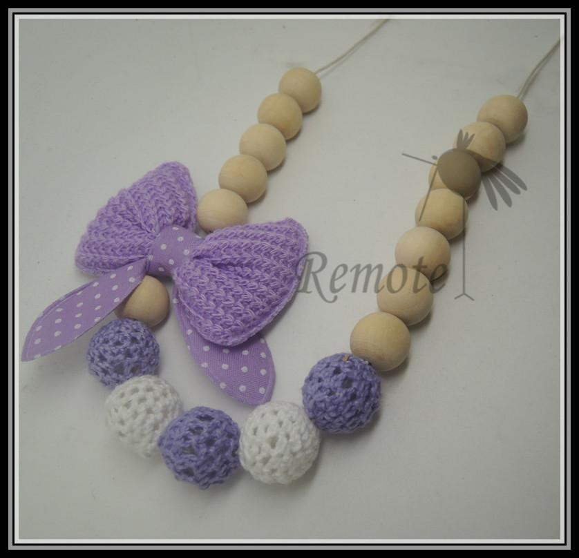 Mommy Organic Teething bead necklace Nursing necklace , Crochet Necklace bow dot necklace pink white NW1601