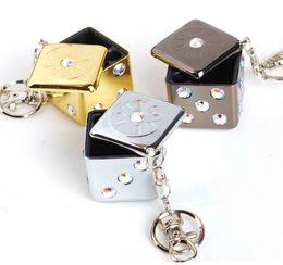 Wholesale Dice Keyring - Free Ship 10pcs Gold Siver Black Mini Aluminum Funny Dice Dice Shaped Cigar Lighter Ashtray Portable Ashtray with Keyring Keychain