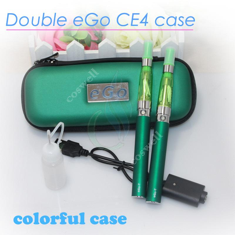 New Double eGo CE4 Colorful Zipper ego case electronic cigarette starter kits with CE4 atomizer ego t battery mutli color optional A quality