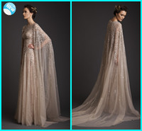 Wholesale 2017 New Arrival Krikor Jabotian Stunning Amazing Elegant Scoop Beadings A line Sweep Train Net Evening Dress