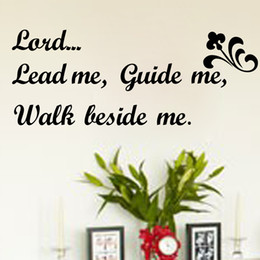 Wholesale Led Vinyl Sticker - Free Shipping Lord Lead Me, Guide Me, Walk Beside Me Wall Quotes Decal Words Lettering Saying Wall Decor Sticker Vinyl Wall Art Stickers