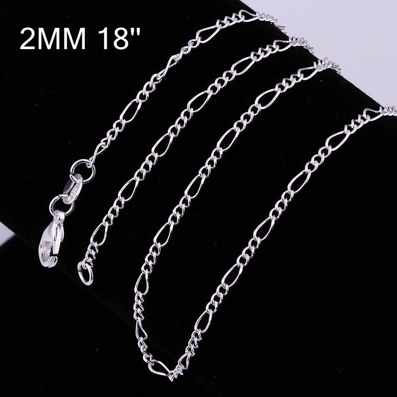 10 stücke 16-24 zoll modeschmuck Halskette Großhandel viele 925 Sterling silber Schmuck 2mm Figaro kette halsketten anhänger männer schmuck