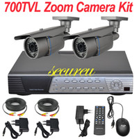 Wholesale Dvr Security Camera System Cheap - Cheap best cctv system 2ch cctv kit zoom lens ir night vision cctv security surveillance camera 4CH D1 DVR network digital video recorder