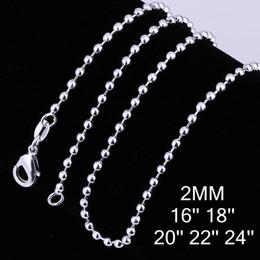 Cadeia de cordão de 2mm on-line-10 pcs Moda 925 Sterling Silver 2mm 16-24 inch Contas Suaves Cadeia Colar de Moda Colar