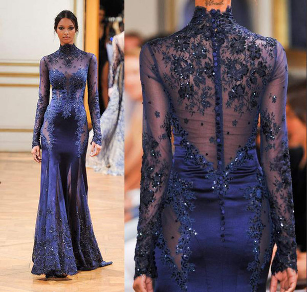 best selling 2019 Zuhair Murad High Neck Lace Formal Evening Dresses Long Sleeve See-through Beads Appliques Prom Celebrity Gowns Custom Navy Blue
