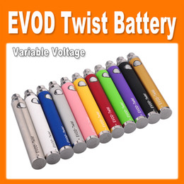 Wholesale Ce4 Kit E Cigarette - EGO Evod Twist Variable Voltage Battery E cigarette 650mAh 900mah 01100mah Battery for ego MT3 CE4 CE5 CE6 Atomizer kits cheap(0204019)