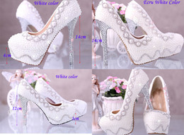 Wholesale 14cm Heels White - White Wedding Bridal Dress Shoes Custom-made Super High heel 14cm Fashion Lady Shoes Match anniversary party Woman Evening Prom Pumps