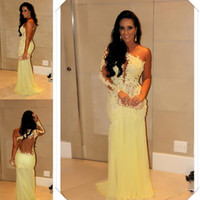 Wholesale 2014 Best Selling Single Long Sleeve Evening Dresses Lace Appliqued Sheer Back Sheath Floor Length Yellow Tulle Skirt Celebrity Prom Gowns