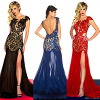 Wholesale 2014 Sexy Evening Dresses Appliqued Scoop Neck Backless Sheath Side Slit Floor Length Chiffon Prom Gowns Dress