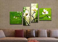 ingrosso vernice verde tela bianca-Pittura a olio bianca e verde dei fiori della pittura a olio della tela di canapa dipinta a mano per la decorazione 4pcs / set Trasporto libero all'ingrosso
