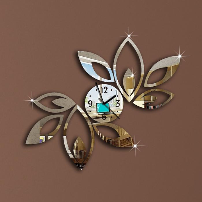 Silver Big Flower Wall Clock Modern Design Luxury Mirror Wall