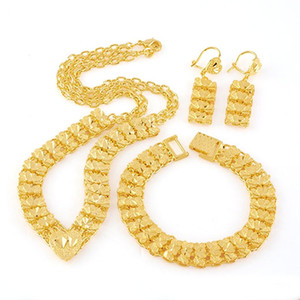 24K Solid Yellow Gold Real Filled Bracelet Earring Necklace Pendant Set Special