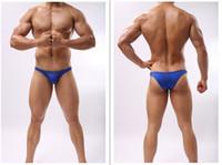 Wholesale Little Green Pouches - JOE Men U convex pouch silky sexy low waist half a pack hip little sexy men 's underwear briefs
