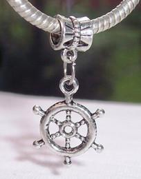 Wholesale Wholesale Wheel Charm - Hot ! Antique Silver Captain's Ship Wheel Nautical Dangle Bead For European Charm Bracelets 31 mm x 15 mm ( z056)